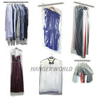 """CLEAR POLYTHENE GARMENT CLOTHES COVER PROTECTOR BAGS 38"""" 60"""" or 72"""" HANGERWORLD"""