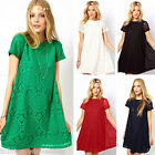 Sexy Women Casual Lace Floral Dress Short Sleeve Party Loose Mini Dress Fashion