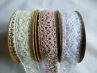 Vintage style Cotton Lace  25 mm x  1 & 5 metres in White/Cream/Old Pink
