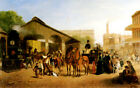 SACRAMENTO RAILROAD STATION 1874 TRAIN AND HORSE CARRIAGE BY WILLIAM HAHN REPRO