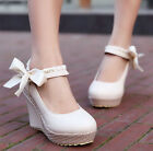 Fashion Cute Womens Braided Wedge Heel Platform Round Toe Loafers Date Plus Size
