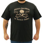 Harley-Davidson Mens Distressed Skull & Crossbones Black Short Sleeve T-Shirt
