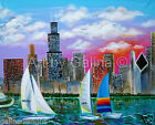 Wrapped canvas artwork giclee - Chicago skyline