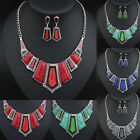 New Women Chunky Collar Big Crystal Statement Necklace With Earrings Jewelry Set