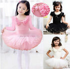 Girls Leotard Short Sleeve Ballet Tutu Dance Party Dress 3-8Y Kids Skate Skirt