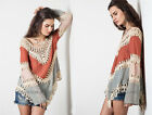 RUST BEIGE 16 Multi-Color CROCHET TUNIC Top Long Sleeve Shirt S M L XL 1X 2X