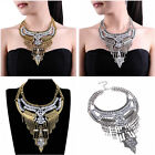 Ethnic Vintage Style Gold Silver Chain Rhinestone Bib Pendant Statement Necklace