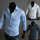 Luxury handsome Men Slim Fit Skinny Long Sleeve Casual Dress Shirts Tops Blouse