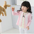 Cardigan jacket Girls Kids Lace Coat Long Sleeve Outwear Clothes Pink