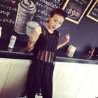 FREE P&P !!Sheer Mesh Stripe Asym Long Top Blouse T Shirt Kaftan Vest Mini Dress