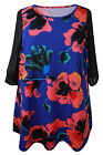 New Evans Blue Red Floral Print Tunic Dress Plus Sizes 16 - 28