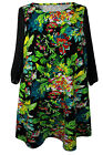 New Evans Black Green Floral Print Tunic Dress Plus Sizes 16 - 28