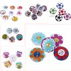 50/250pcs Bulk Mixed Color Patterns Wooden Sewing on Buttons Embellishments C