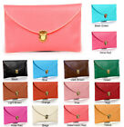 Ladies Large Leather Style Envelope Clutch Bag Women Wedding Purse Chain Long