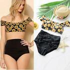 Hot sun flower Retro High waist Bikini magic swimsuit swimming cover belly DJNG