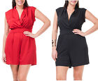 11 - 1XL 2XL 3XL Plus Size Wrap Chest Summer Romper Black Red 1X 2X 3X