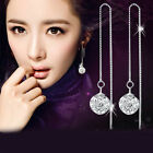Qualified Women Silver Plated Zircon Threader Drop Dangle Long Chain Earrings