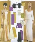 Misses Lined Evening Top Skirt Stole Sewing Pattern Straps Option Princess 3436