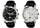 Mens Male Quartz Analog Dual Dial Waterproof Wrist Watch Black Faux Leather Band