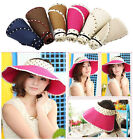 Fashion Girl Lady Women Beach Sun Visor Foldable Roll Up Wide Brim Straw Hat Cap