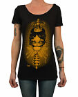 Women's Queen Bee by Kurono Royal Blessing Big Eye Art Scoop Neck Black T Shirt