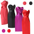 Strapless Formal Bridesmaid Dress Wedding Party Satin Pencil prom Dress 8 10 12+