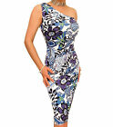 Blue Banana - New Floral Purple Print One Shoulder Dress