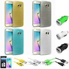 TPU Rubber Case+6ft Micro USB Cable+Car Charger+SP For Samsung Galaxy S6 Edge