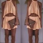 2Pcs Sexy Womens Halter Top+Skirt Suit Cocktail Evening Party Dress Prom Summer
