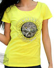 Harley-Davidson Womens Willie G Sugar Skull Yellow Short Sleeve T-Shirt
