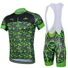 New Camouflage Green Cycling Bike Bicycle Wear Short Sleeve Jersey + Bib Shorts