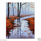 TRADITIONAL PAINTING Autumn Landscape FINE ART RIVER  RED BROWN Trees