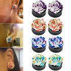 PAIR 8-25mm Rose Flower Acrylic Double Saddle Ear Plugs Gauges Tunnel Expander