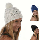 Girls Ladies Crochet Knit Knitted Bobble Puff Popcorn Skull Beanie Hat POM POM