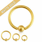 Pair of Matte Gold on Surgical Steel Captive Bead Rings 14g Septum Nipple Rings