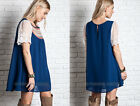 NAVY BLUE 16 EMBROIDERED Baby Doll TUNIC Shirt DRESS Lace Bohemian Boho S M L