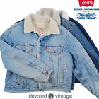 Levis Sherpa Jacket Vintage Denim Shearling USA Fleece Fur Lining S M L XL