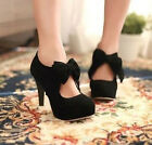 Hot Womens Vintage Faux Suede Bow Tie High Heel Platform Pumps Court Shoes Size