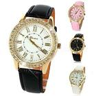 Womens Fashion Bling Crystal Faux Leather Strap Golden Analog Quartz Wrist Watch