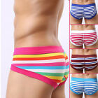 Hot Sales Men's Striped Underwear Triangle Sexy Briefs Cotton Shorts 5 Colors