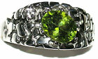 Men's Nugget Peridot & Topaz Stainless Steel Ring  August Birthstone TK959
