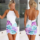 Sexy Women Slim Summer Floral Print Gallus Sleeveless Backless Dress Hot Casual