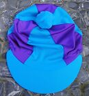 Lycra Riding Hat Silk Skull cap Cover TURQUOISE & PURPLE With OR w/o Pompom