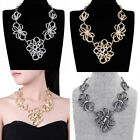 Fashion Gold Silver Flowers Chain Crystals Bib Choker Collar Pendant Necklace