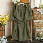 2015 NEW Womens Slim Fit Drawstring Army Green Military Trench Parka Jacket Coat