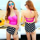 Cute Retro Women Swimsuit Swimwear Vintage Pin Up High Waist Bikini Set S/M/L/XL