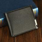 Metal Side Pockets Credit/ID Card Holder Clutch Bifold Mens Coin Purse Wallet