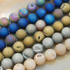 Natural Druzy Quartz Agate Round Beads 6mm 8mm 10mm 12mm 14mm