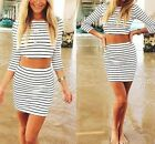 Sexy Womens Halter Bodycon Tops Mini Skirt Cocktail 2pcs Set Evening Party Dress