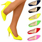 Ladies Womens Bright Colour Pointed Toe Office Court Shoes Mid Heel Pumps Pointy